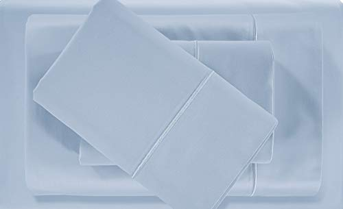 500-Thread-Count 100% Pima Cotton Sateen Sheets King Size Set - 4-Piece Blue Hotel Collection Bedding Sheets for Bed, Fits Mattress Up to 18'' Deep Pocket, Breathable, Luxury Comfy Sheets