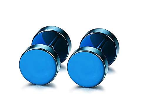 OUTLETISSIMO Par de pendientes pendientes de acero titanio para hombre y mujer falso dilatador Fake Plug 6 mm color azul metalizado