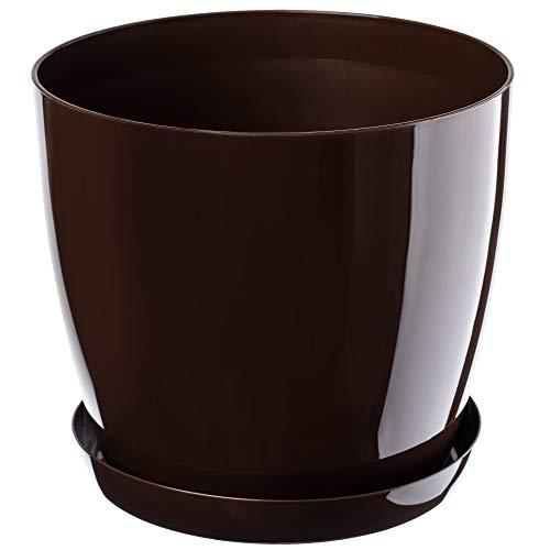 KADAX Blumentopf, Pflanzkübel mit Untersetzer, runder Blumenkübel für Innen, eleganter Pflanztopf aus Kunststoff, Übertopf für Blumen, Pflanzen, Haus, leichtes Pflanzgefäß (Ø 16 cm, Braun)