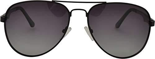 SQUAD Gafas de sol Para hombre y mujer polarizadas Piloto, 100% protección UV400, marco metal negro mate, Doble puente
