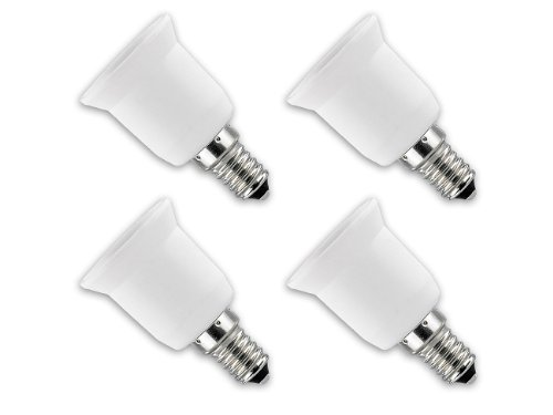 Lunartec Adapter für Glühbirnen: Lampensockel-Adapter E14 auf E27, 4er-Set (Sockeladapter)