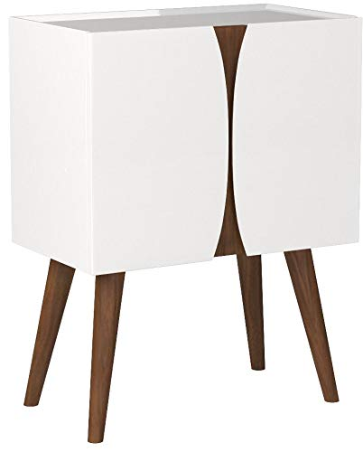 """Amazon Brand – Rivet Modern Lacquer and Wood Cabinet, 23.6""""L, Glossy White and Wood"""