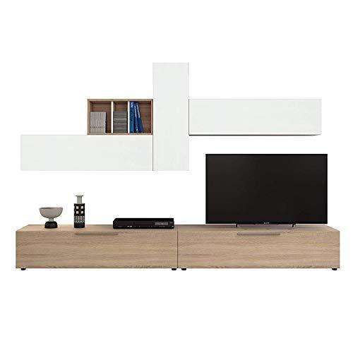 Parete Attrezzata San Fernando Mobile Soggiorno TV con Mensole e Vani Salotto Legno Base Televisione Sala da Pranzo Design Moderno 260 x 42 x 32 cm Colore Bianco Artik e Rovere