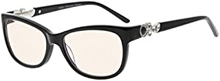 Eyekepper Womens Cat-Eye Computer Glasses-Acetate Frame Blue Light Blocking Eyewear, Amber Tinted Lenses (Black,+0.00)