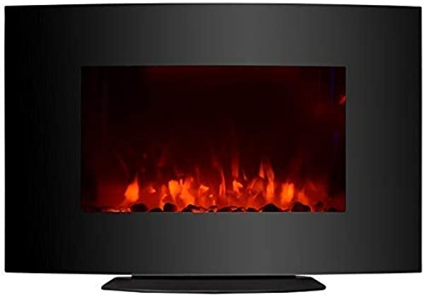 KUPPET 33 Standing Wall Mounted Electric Fireplace Space Heater With Bracket And Glass In Rooms Stove Simulation Flame Cobblestone Adjustable Heater With Remote 750W 1500W Black