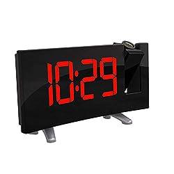 Powstro Projector Clock, Digital Alarm Clock Radio Alarm Clock Snooze Timer LED Display 7.1inch Wide Curved Screen Dual Alarm USB Charge FM Radio Clock 12/24 Hours - Red