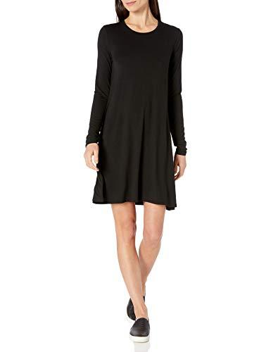 Amazon Essentials Long-Sleeve Crewneck Swing dresses, schwarz, US L (EU L - XL)