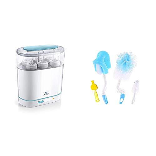 Philips Avent 3-in-1 Electric Steam Sterilizer&Syga 4 Pcs Baby Milk Bottle Nipple Straw Brush Sponge Nylon Cleaning Brush Cleaner Bottle Tong Set R