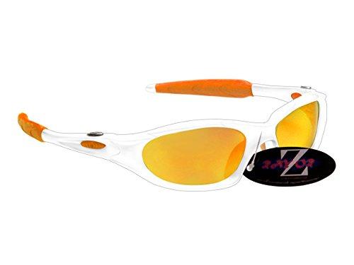 Rayzor Professionnel léger UV400 Blanc Sports Wrap Course Lunettes de Soleil, avec Une médaille d'or Iridium Miroir Anti-éblouissement Objectif