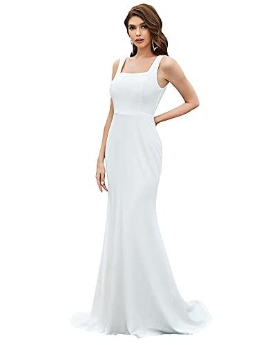 Ever-Pretty Hochzeitskleid, Meerjungfrau, lang, für Damen, Dekolletee, quadratisch, ohne Ärmel, Hochzeitskleid, einfach, Bohème-Stil, EH90274 Gr. 40, weiß