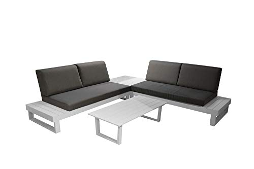 Proloisirs Salon De Jardin Staten avec Coussins (2Mer+1Tab Angl+Table Basse)- Blanc
