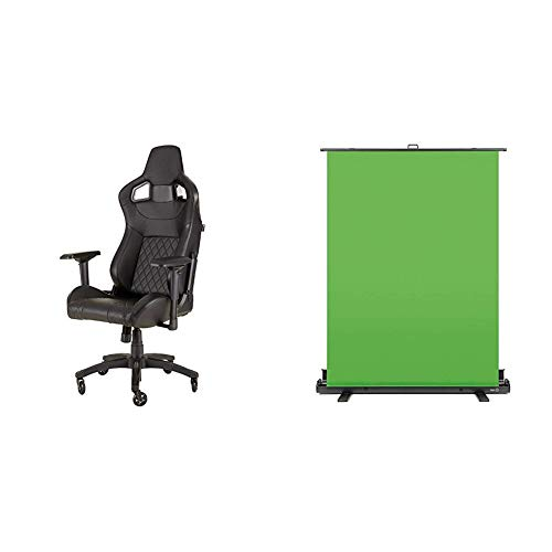 Corsair High Back Gaming Chair Computer Office Chair + Elgato Green Screen