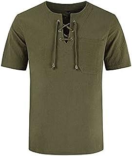 Wanxiaoyyyinnsdx Mens Henley Short Sleeve, Men's Summer Short Sleeved T-Shirts Cotton And Linen Tie T-shirt Top Hollow Lac...