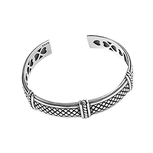 Elnker 925 Sterling Silver Bracelet for Women Mesh Heart Pattern Handmade Party Gifts
