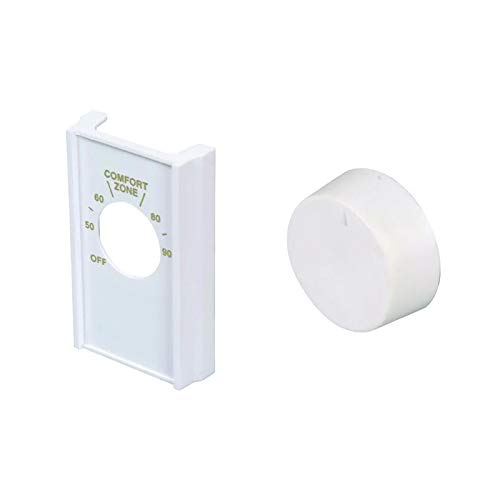 White Double Pole Line Volt Thermostat Cover with Line Volt Knob For Old Style D22 - HVAC