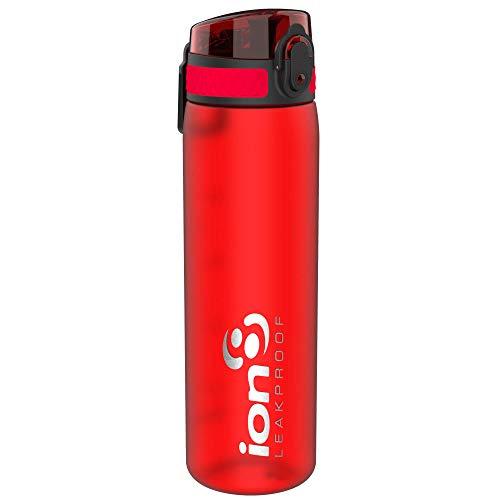 Ion8 auslaufsichere schlanke Wasserflasche / Trinkflasche, BPA-frei, 500ml / 18oz, Rot (Frosted Scarlet)