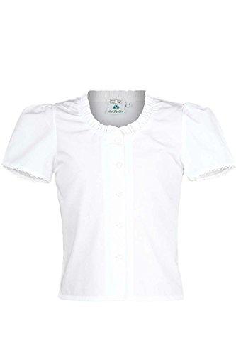 Isar-Trachten Mädchen Kinder Trachten-Bluse schlicht Weiss, WEIß, 128