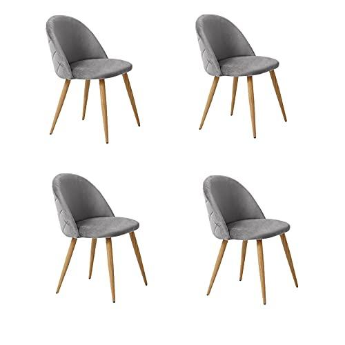 OFCASA Lot de 4 Chaises de Salle à Manger de Velours Chaise de Cuisine Rembourrée en Tissu Chaise avec Jambes en Métal Chaise Lot de 4 chaises gris