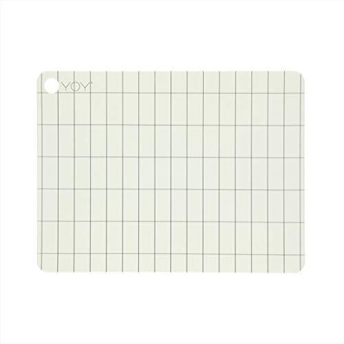 OYOY - Tischset, Platzset - Kukei - weiß, grau - Silikon - 34 x 45 x 0,15 cm - 2er Set