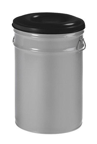 Hygiene-shop Top-Select Papelera ignífuga de 60 litros, color: aluminio/negro