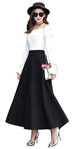 Damen Vintage hoher Taille Flared röcke Flexible Taille- Wolle Retro Elegant Faltenrock Wollrock Winterrock knielange Kleider (Schwarz, XL-Taille: 78 cm)