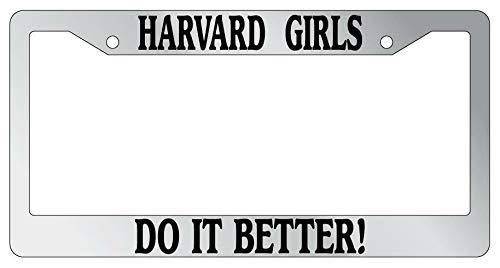 Marcos de matrícula, marco de placa de Harvard Girls Do It Better Auto accesorio aplicable a coches estándar de EE. UU. Unisex-adulto licencia de coche, fundas para placas de 15 x 30 cm