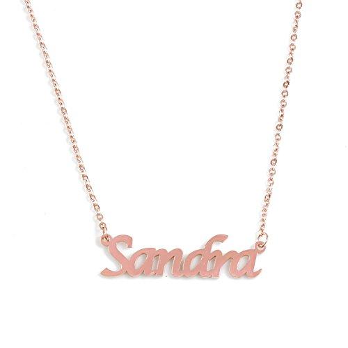 KL Kigu Sandra - Collar personalizable para mujer con nombre en oro rosa