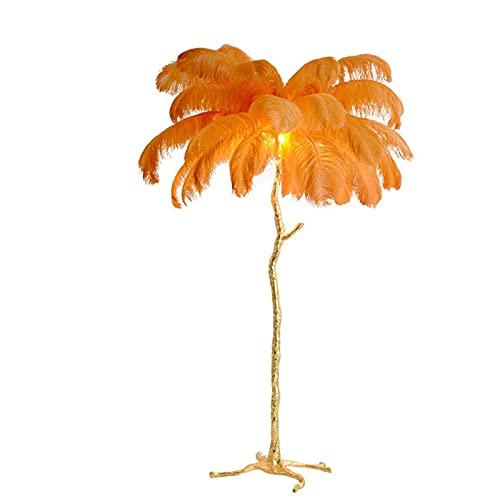 AKEFG Lámparas de pie de Resina, luz de pie LED de Pluma Natural de Avestruz con Interruptor de pie, iluminación de Ambiente romántico, decoración para Salas de Estar