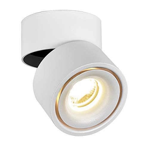 LANBOS 10W plafonnier spot LED downlight,Aangle du corps de lampe réglable, 3000K blanc chaud,Plafonnier d'intérieur,10*10*10cm /Blanc