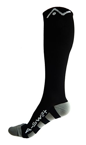 A-Swift Compression Socks (1 pair) for Women & Men by Best For Running, Athletic Sports, Crossfit, Flight Travel - Suits Nurses, Maternity Pregnancy - Below Knee High