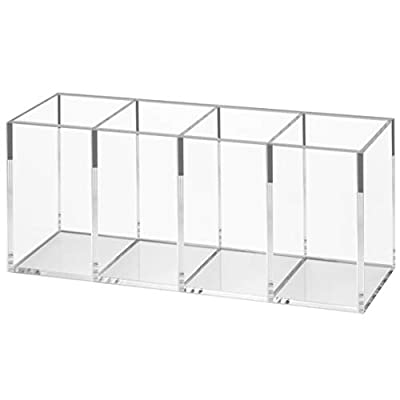 NIUBEE Acrylic Pen Holder 4 Compartments, Clear Pencil Organizer Cup for Countertop Desk Accessory Storage