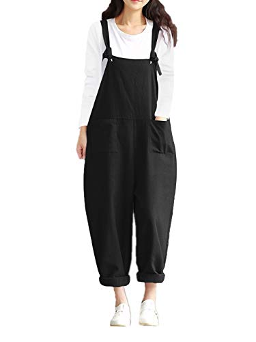 Style Dome Women's Dungarees Sleeveless Loose Casual Jumpsuit Baggy Overall Long Jumpsuit Playsuit Trousers Pants with Pocket Retro Dungarees Black M