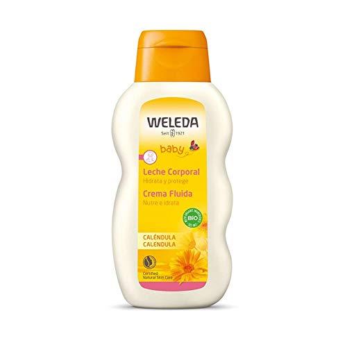 WELEDA Baby Calendula Pflegemilch, Naturkosmetik Körpermilch zur Pflege und Reinigung von trockener Haut, Pflegelotion für Babys und Kleinkinder (1 x 200 ml)