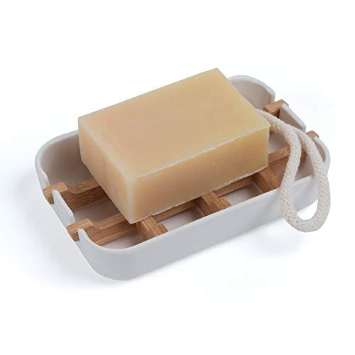 KARBAN Seifenschale - 100prozent natürlicher Seifenhalter für Bad, Dusche und Küche - Seifengitter und Abtropfschale aus nachhaltigen Bambus - auch als Badaccessoire oder Baddeko - 13x8,5x2,4cm (LxBxH) (Weiß)