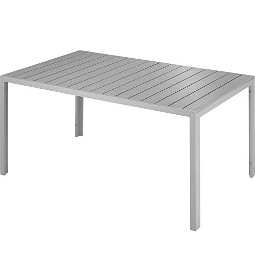 TecTake 800716 Garden Table, Rectangular, Non-rusting & Aluminium Frame, Dining Patio Outdoor, 150x90x74.5 cm (Silver | No. 403297)