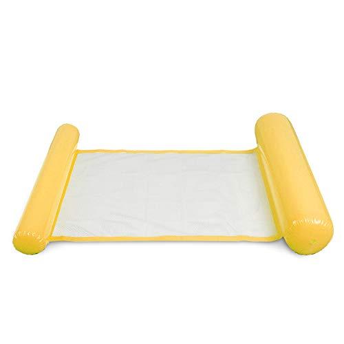 JeromKewin Aufblasbare Luftmatratze, schwimmendes Bett, Hängematte, Lounge-Sessel, für Schwimmbad, Strand, für Erwachsene gelb