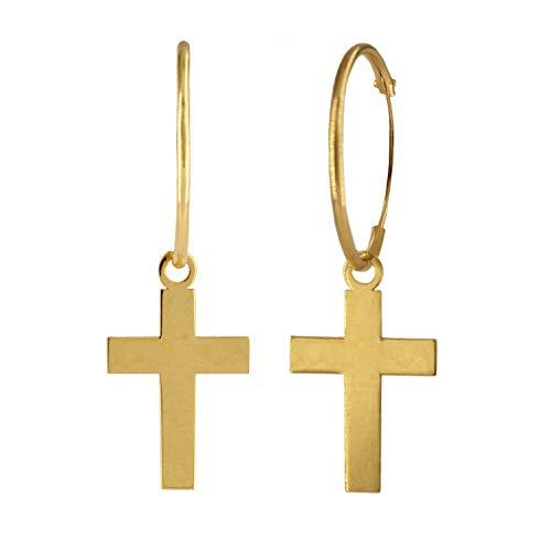 Pendientes Aro de Oro 18K con cruz Infantil