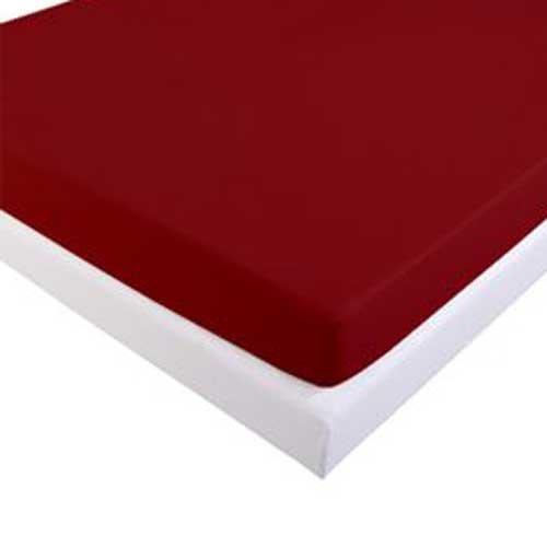 LINGE USINE Drap Housse 160 x 200 cm Flanelle Rouge Bordeaux Sim 160 GR-m2