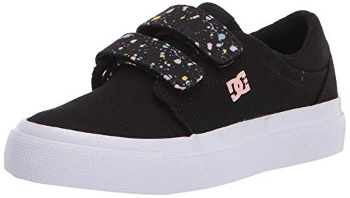 DC Girls Trase V Skate Shoe, Black/White/Pink, 2.5 Little Kid