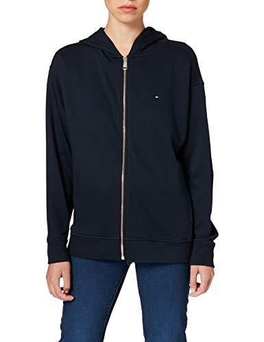 Tommy Hilfiger Oversized Zip-Through Hoodie LS Sudadera con Capucha, Azul, XS para Mujer