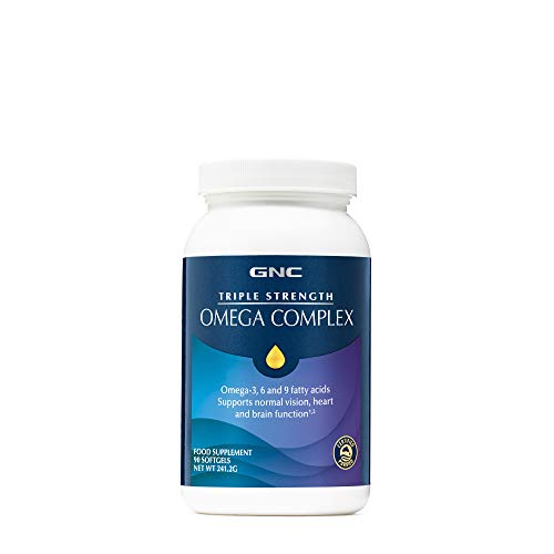 Complesso Omega a tripla forza GNC, Omega-3, acidi grassi 6 e 9, 90 capsule morbide, supporta la vista normale, la funzione del cuore e del cervello