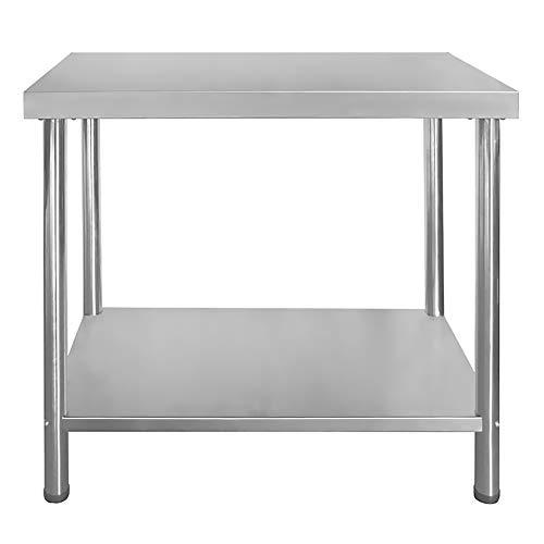 Gastro Edelstahltisch Edelstahl Arbeitstisch Küchentisch Höhenverstellbar mit/ohne Aufkantung Größenwahl V2Aox, Größe:120 x 70 cm, Aufkantung:ohne Aufkantung