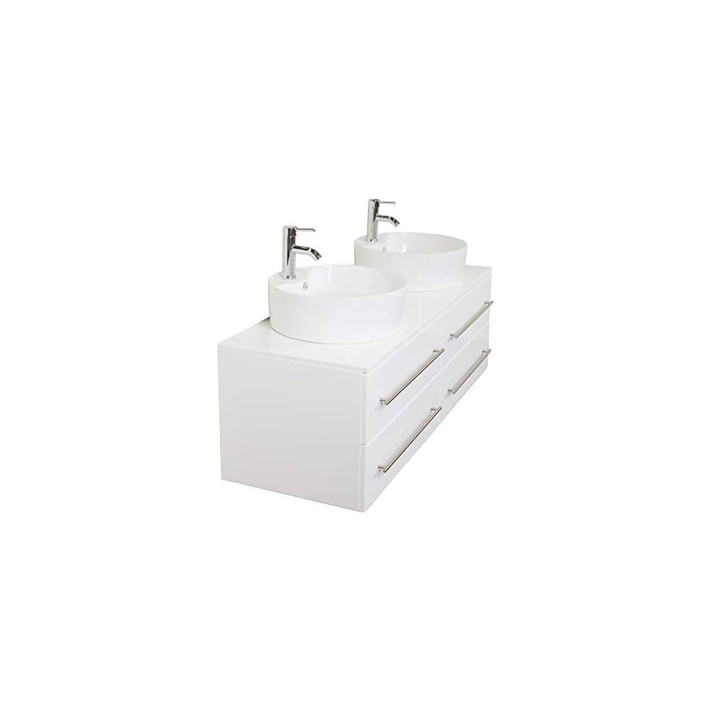 emotion Meuble Salle de Bain Double Vasque Novum XL Blanc Brillant avec Vasque à Poser