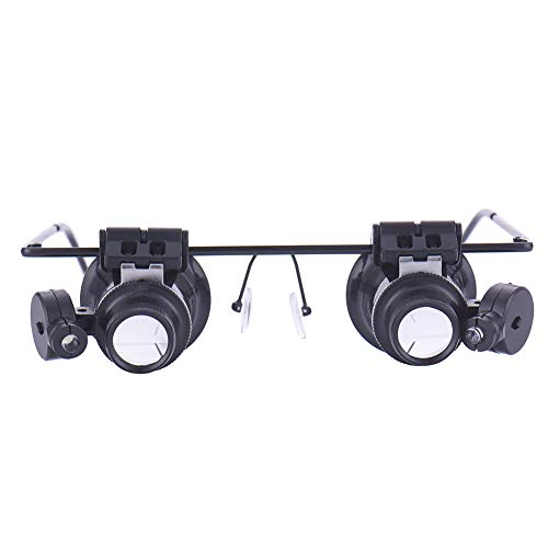 Headband Magnifier Glasses with LED Lights Illumination, 20X Head-Mounted Reading Magnifying for Close Work Jeweler Appraisal Loupe Craft Watch Repair