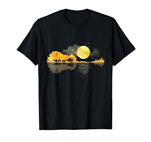 Gitarre Natur Mond Retro Style Gitarrist Geschenk T-Shirt