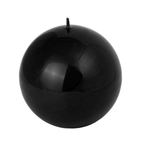 12 cm runde schwarz glänzende Kugelkerze Kerze Kugel