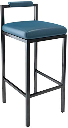 DHFDHD Stools Kitchen Counter Bar Breakfast Chairs PU Leather Seat With Backrest Barstool For Kitchen Dining/Pub |Black Metal Legs |Max Load 150Kg Barstools (Color : Blue)