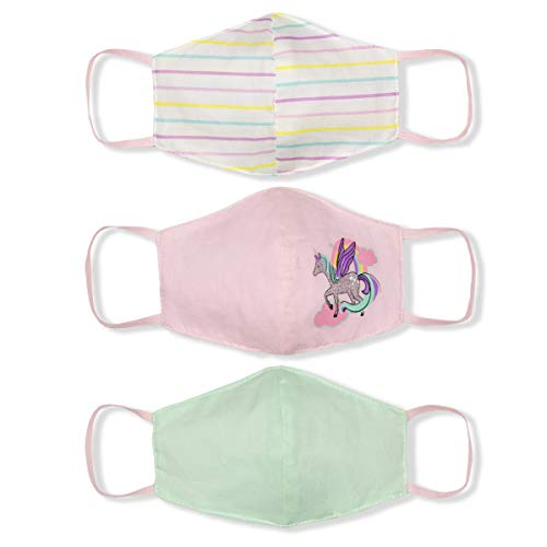 3 Pieces Girls' Reusable Cotton Fabric Face Mask, Protection from Dust, Pastel, Ages 3-6 Years