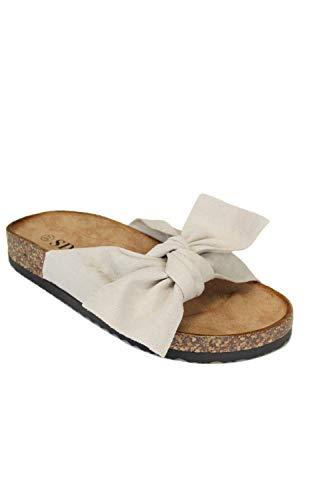 irisaa Bunte Pantoletten Sandalen mit Schleifen oder Blumen zum Sommer, 2019 Patoletten Farbe (1):beige Old, Schuhgröße 36-41:40