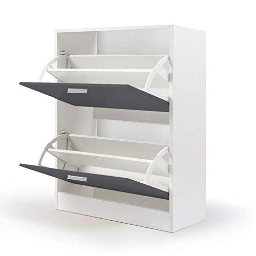 IDMarket - Meuble à chaussures blanc 2 portes grises
